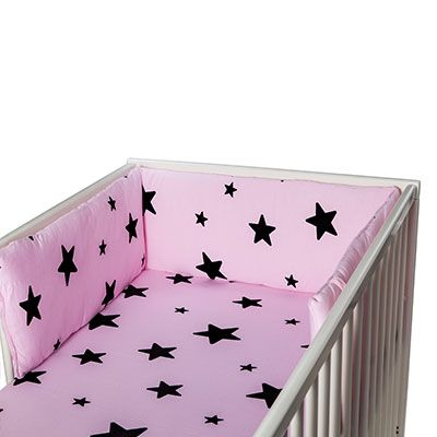Bumper - cot bumper - pink and black - my little baby rock star