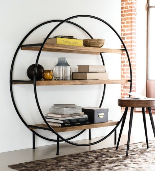 Round Mango Wood And Matte Black Metal Industrial Shelving Unit