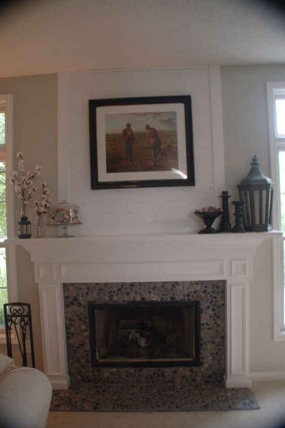 River rock and shiplap fireplace mantel make over - Rockabilly mantel ...