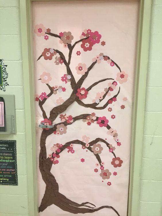 Cute Owl Classroom Decorations ~ Spring classroom door japanese cherry blossom tree