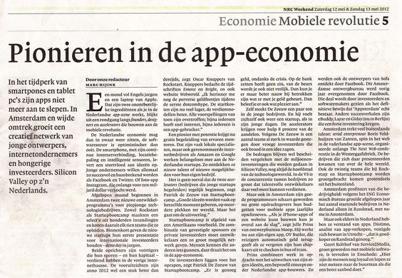 Patrick de Zeeuw for NRC in an article about Amsterdam tech scene. Blog post: http://bit.ly/JAvWT5