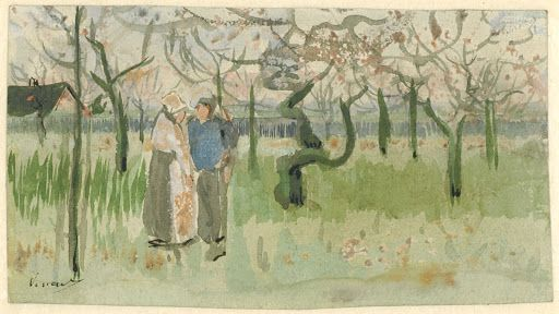 Sketch of Orchard in Blossom with Two Figures: Spring, enclosed in a letter from Vincent van Gogh to Theo van Gogh  Vincent van Gogh, 1882