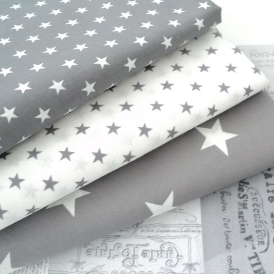 STARS - GREY and WHITE COTTON FABRIC by the metre EX WIDE NURSERY BOYS FASHION   eBay