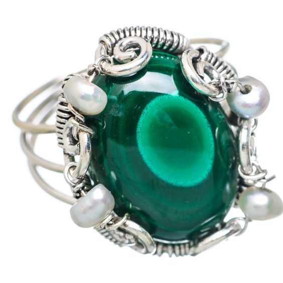 Malachite, Cultured Pearl 925 Sterling Silver Ring Size 9 RING783673