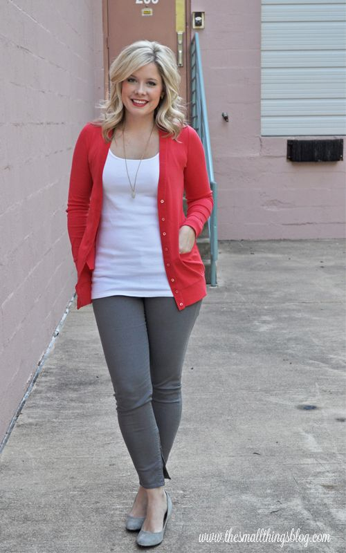 Coral cardigan, white tank, grey skinny jeans, and grey wedges.  Love the color on top with the neutral pants.  =)
