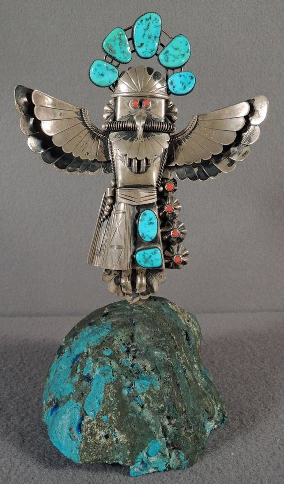 Large sterling silver and turquoise bolo sculpture kuchina navajo