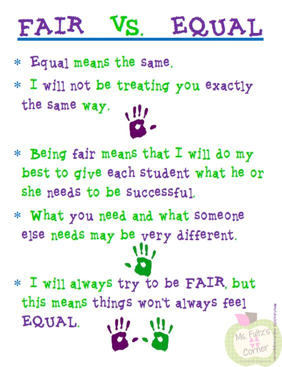 fair vs equal...this applies at home AND school