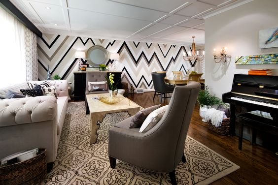 #CandiceTellsAll  #WatchandPin  Candice transformed this living and dining room by adding dimension with bold paint patterns and including more furniture to utilize the large room.  http://www.hgtv.com/candice-tells-all/show/index.html?soc=pinterest