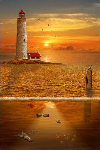 Poster: Ãœber- und Unterwasserwelt - Romantic Wall Art by Mausopardia - Romantische Wandbilder von Mausopardia bei Artflakes!