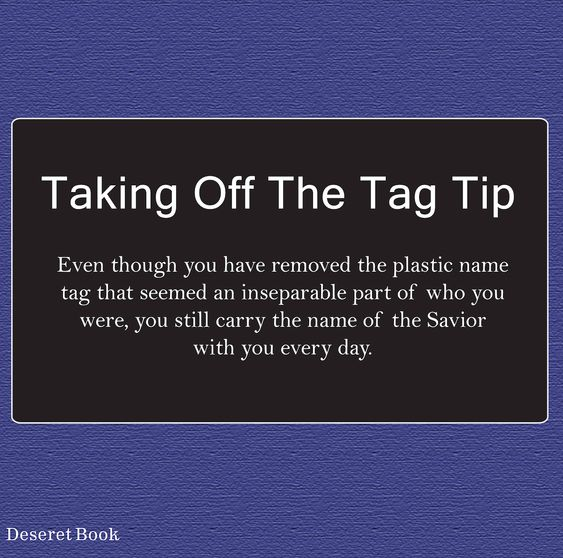 Taking Off the Tag: A Transition Guide for Returned Missionaries. #lds