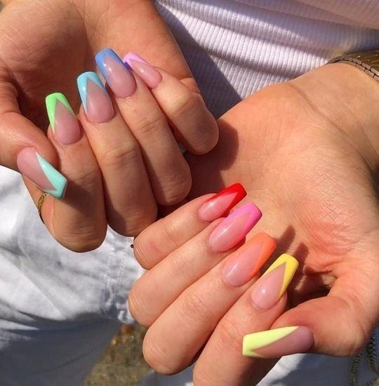 Ballerina Nails Rainbow Nails Summer Nails Acrylic Nails Rainbow Nails Fire Nails French Tip Nail Art French Tip Nails