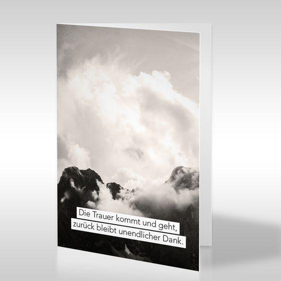 Die Landschafts-Fotografie von Tom Zilker auf dieser Dankeskarte ist in Sepia-Tönen gehalten. Sie zeigt eine dramatische Wolkendecke über einem Gebirge. Die Komposition aus ausdrucksstarker Fotografie und aufbauendem Text ist für die Mitmenschen gedacht, die dem Trauernden durch ihren Zuspruch und ihre Unterstützung in der Trauerzeit bei der Bewältigung des Schmerzes geholfen haben. https://www.design-trauerkarten.de/produkt/wolkenwand-2/