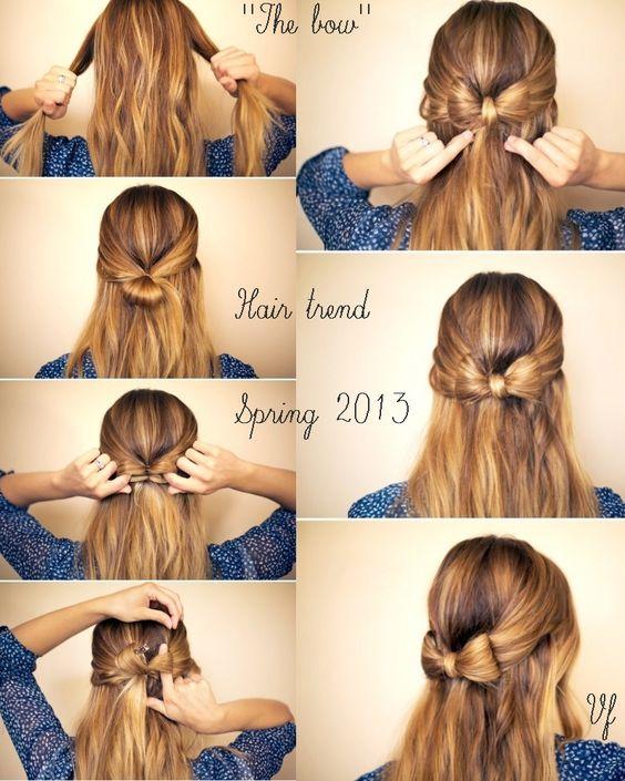 Acconciature - hairstyle - bow http://visualfashionist.blogspot.it/2013/03/acconciature-semplici-per-la-primavera.html