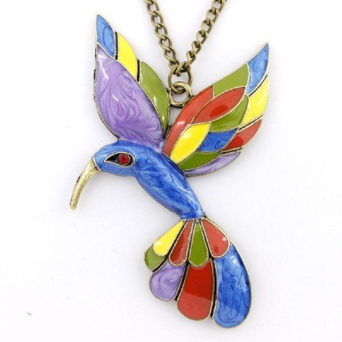 Brilliant Enameled Stained Glass Look Hummingbird Pendant DaisyJewel. $14.99. Search DaisyJewel for more Great Gems!. Beautiful and Elegant. Long Chain. Brilliant Enamel Colors with a Stained Glass Look. Save 42% Off!