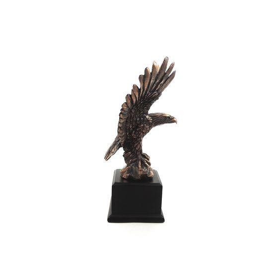 Águia Largura x Altura x Profundidade: 19,5 x 24 x 9,5 cm Peso: 820 g Material: resina Acabamento: bronze Origem: Ásia