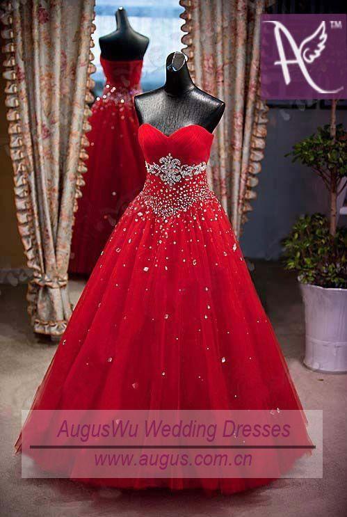 Vestidos De Quinceañera Color Rojo Strapless Ampones