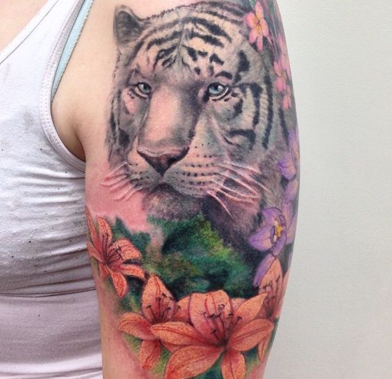 White tiger tattoo with lillies orchids plumeria for White tiger tattoo
