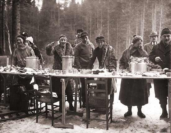 A volunteer feed station for the cross-country skiing events in the 1932 Olympics. Lake Placid, NY