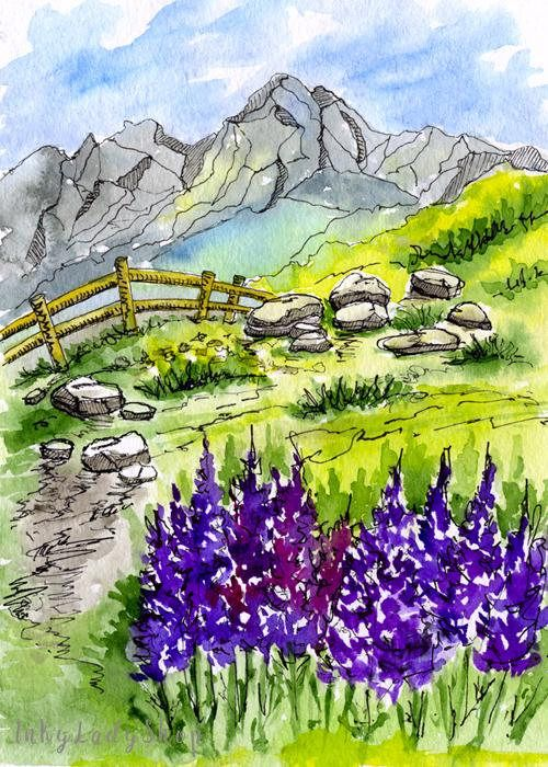 Watercolor Landscape Painting Mountain Painting Travel Watercolor Landscape Paintings Watercolor Landscape Mountain Paintings
