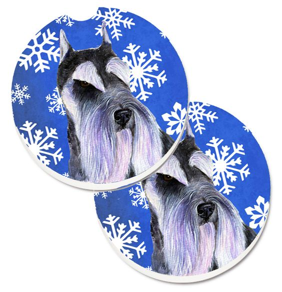 Schnauzer Winter Snowflakes Holiday Set of 2 Cup Holder Car Coasters SS4615CARC