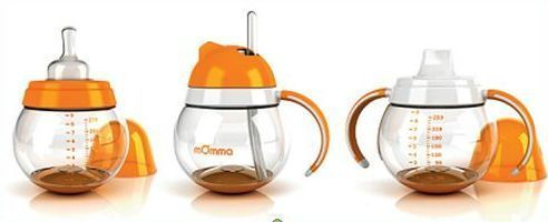 mOmma Bottle, Sippy, or Straw Cups, No Spill, Orange or Green
