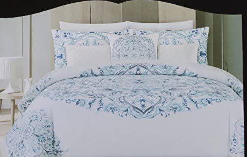 Cynthia Rowley Duvet Cover Set Vintage Ornate Large Medallion Bohemian Blue White Cotton Bedding Full Queen Blue In 2020 King Duvet Cover Sets Duvet Cover Sets Bed