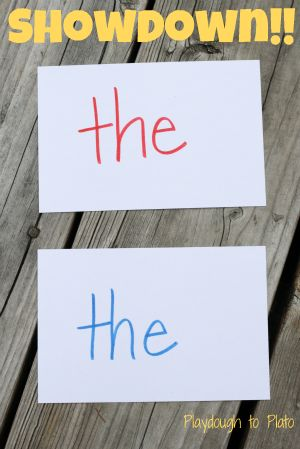 Showdown!! Simple, fun game that teaches children letters or sight words.