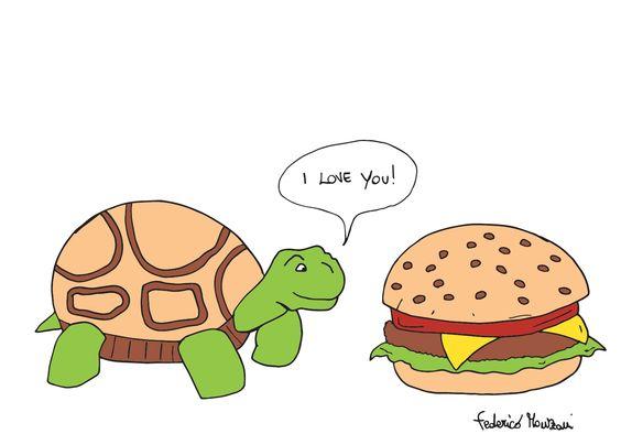 Tortoise + Hamburger = Love by Federico Monzani