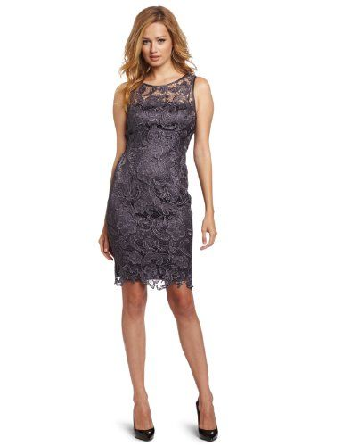Adrianna Papell Women&39s Illusion Neck Lace Dress Charcoal 8 ...