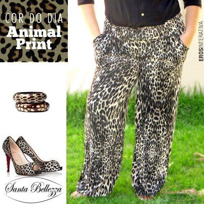 O final de semana está chegando... Aproveite para comprar direto do site. #animalprint #plussize #moda  http://santabellezza.com.br/loja/calcas/pantalona/calca-pantalona-com-bolso.html