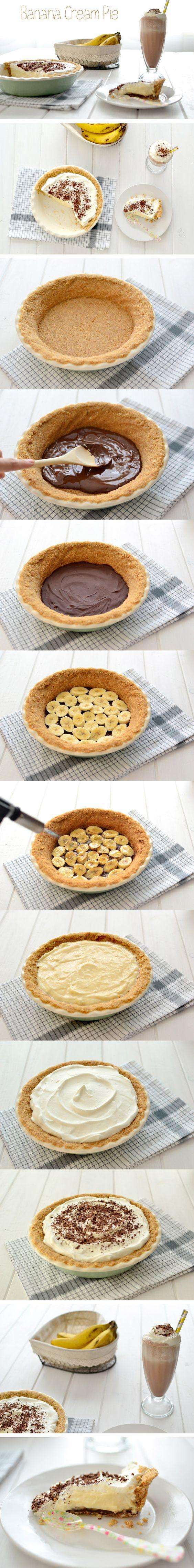 Pastel de crema y plátano