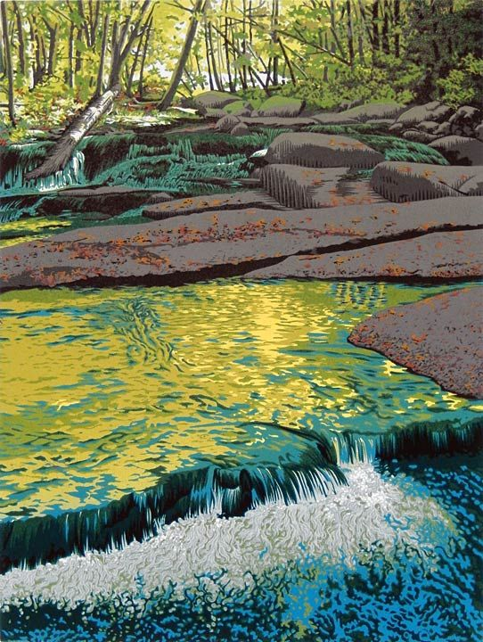 """""""Stickneybrook"""", 9-color reduction linocut print by William H. Hays, 12"""" x 9"""""""