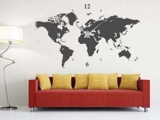 Wandtattoo Wanduhr Weltkarte