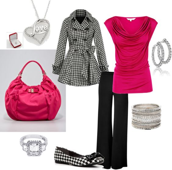"""""""pink and houndstooth"""" by ryanyoungfam on Polyvore: Adore Houndstooth, Gallo Clothing, Fashion Fuels, Fashion Houndstooth, Style Outfits, Ryanyoungfam Polyvore, Houndstooth Outfit, Clothing Shoes, Houndstooth Created"""