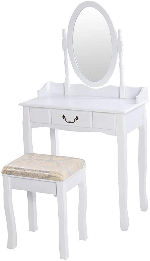 Makeup Dressing Table Mirror, Rotation Removable Mirror Dressing Vanity Table Makeup Desk With Stool White