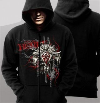 World of Warcraft black hoodie for men design Horde Plus size