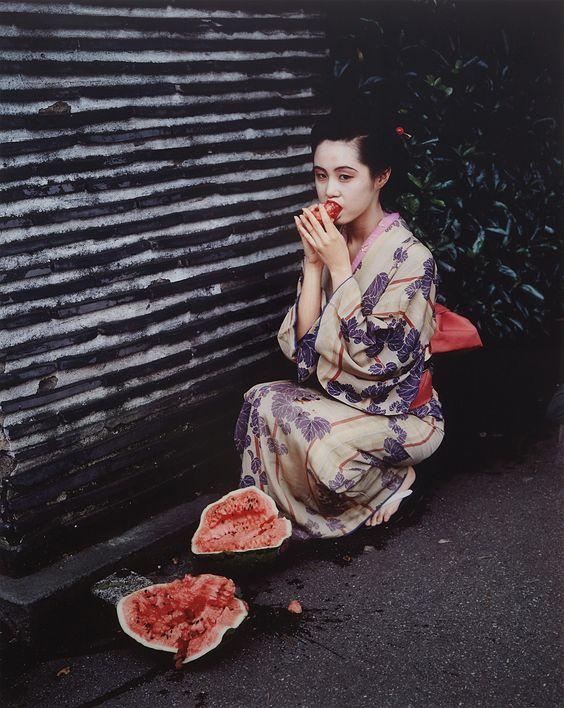red-lipstick: Nobuyoshi Araki 荒木 経惟 Araki Nobuyoshi aka Arākī アラーキー (Japanese, b.1940, Tokyo, Japan) - Untitled (Watermelon) from Colourscapes, 1991 Photography: