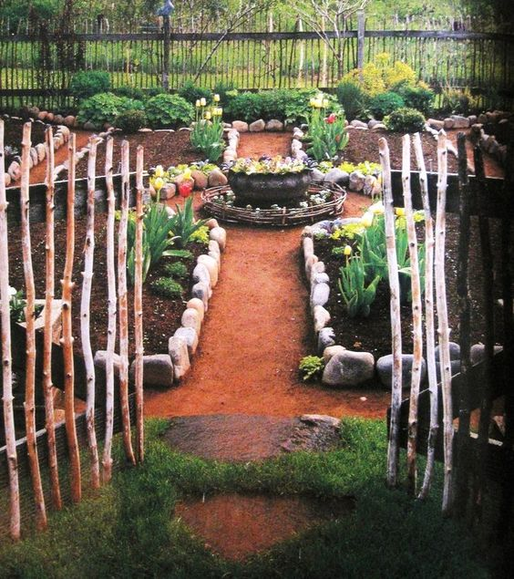 Herb Garden On Fence: ..twig Fencing... Stone Edging.... A Garden To Enjoy