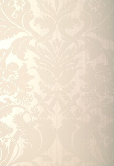 """SCHUMACHER  Fiorella Damask  Pearl  Wallcovering SKU - 529190  Match - Straight  Width - 27""""  Horizontal Repeat - 27""""  Vertical Repeat - 47""""  Country of Finish - United Kingdom  This product is featured in Palazzo Damasks 