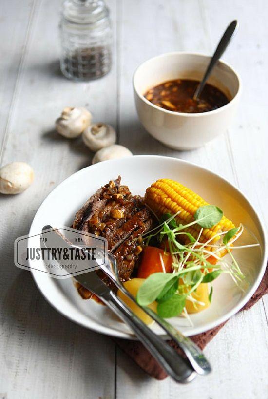 Steak Daging Sapi Saus Jamur Beef Steak With Mushrooms Sauce Resep Daging Sapi Masakan Resep Masakan Asia