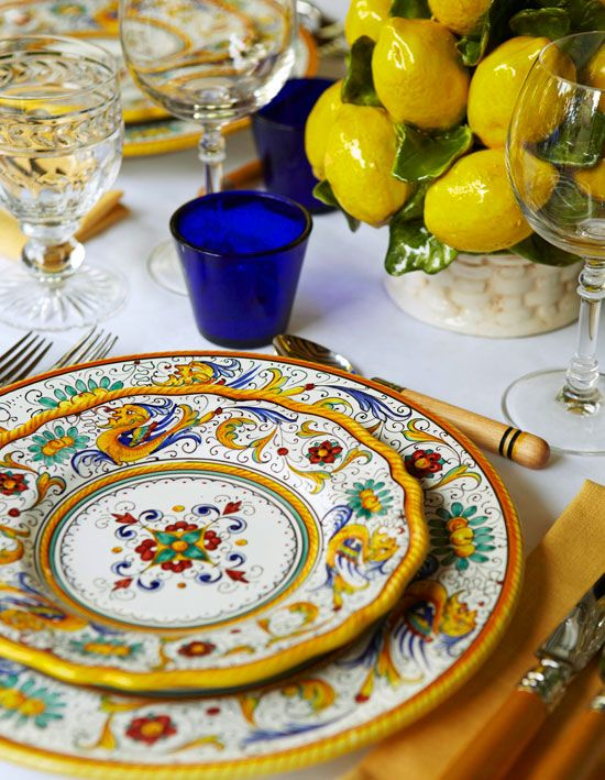 North Terrace  Tableware and accessories by Maryanna Suzanna keep to the zesty ­­color palette.