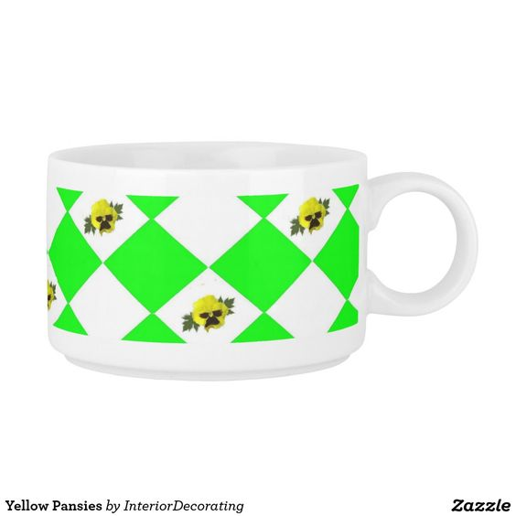 Yellow Pansies Chili Bowl