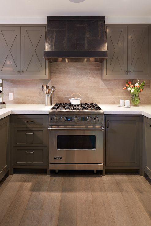 taupe kitchen cabinets stone tiled backsplash gray. Black Bedroom Furniture Sets. Home Design Ideas