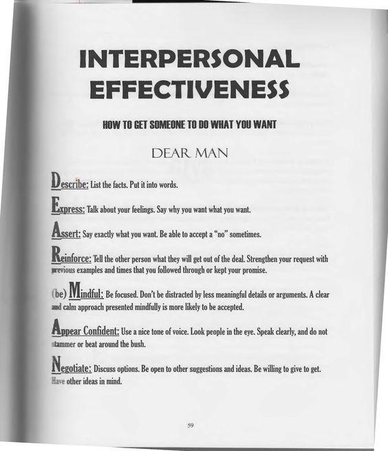 Interpersonal Effectiveness Dialectical Behavior Therapy Interpersonal Effectiveness Dbt Therapy