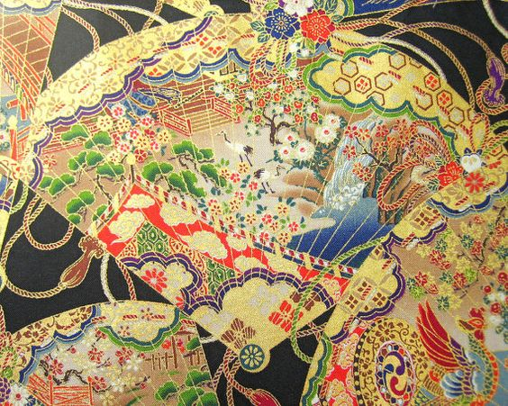fan motif fabric: Motif Fabric, Japonesque Design, Fans, Ribbons, Fabrics, Interiorx