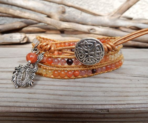 Dragon Sunset Bracelet Handmade Leather Wrap/ Sun - Fire/ Boho Indie Unique Dragon Jewelry/ Japanese Power Stone/ orange yellow red gemstone