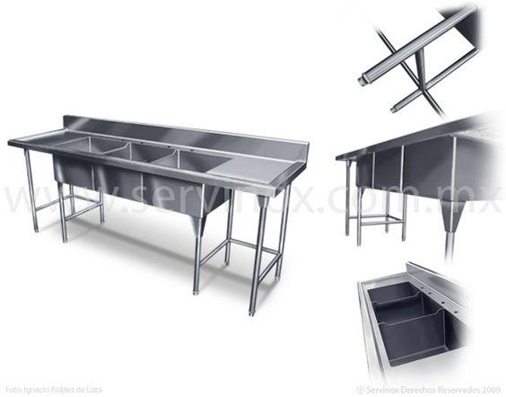Fregadero triple tarja caracteristicas fregadero con 3 for Cocinas de acero inoxidable
