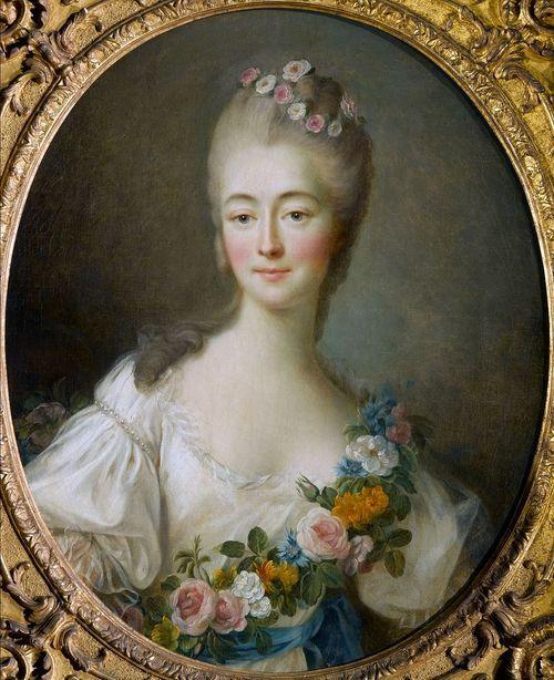 """""""Portrait de Madame La Contesse Du Barry en Flore"""" (1769) by François-Hubert Drouais (1727-1775)."""
