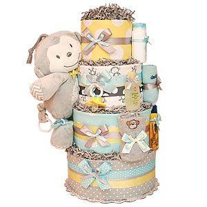 Yellow and Gray Musical Monkey Diaper Cake