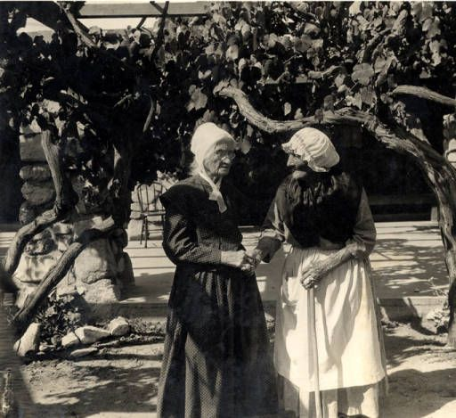 "Senora Maria Antonia Longina Maxima Verdugo (right), known as ""Nanita"" celebrating her 101st birthday on March 15, 1925 at the Verdugo Adobe, with Mrs. Suzanne Hagey (left). Glendale Central Public Library. San Fernando Valley History Digital Library."